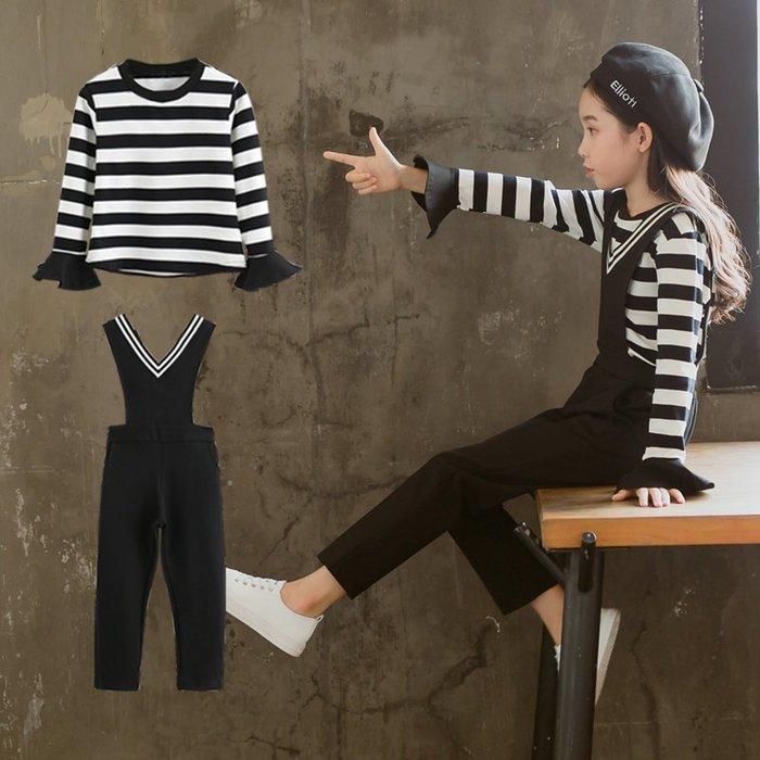 『媽咪貝貝』女童春裝新款時髦背帶褲套裝2019韓版中大兒童時尚洋氣兩件套潮衣