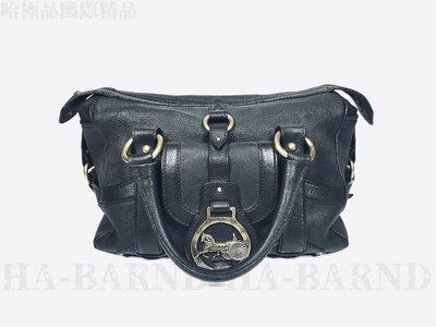 【哈極品】二手品《CELINE Vintage 黑色經典馬車LOGO全皮 手提包》
