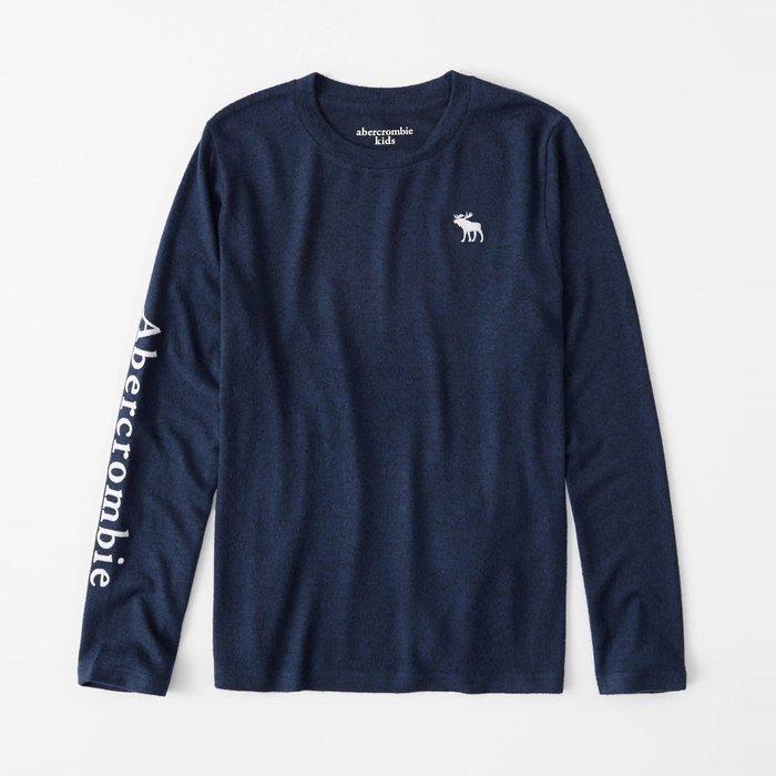 【abercrombie kids】【a&f】af男童款長袖T恤左白鹿右臂字混藍 F07191118-43