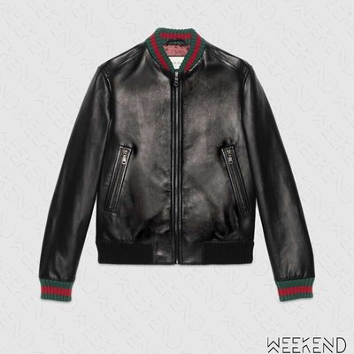【WEEKEND】 GUCCI Leather Jacket Web 紅綠條紋 皮革 夾克 外套 20春夏 431343