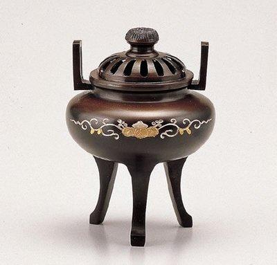 【新月集】日本高岡銅器 彫金菊蓋象眼香爐