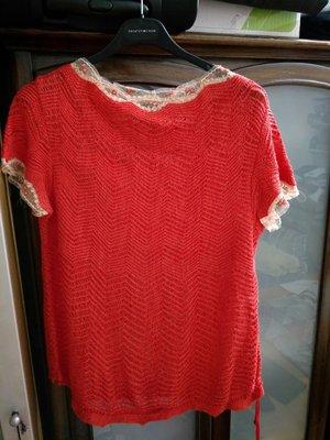 夏姿豔橘紅色絲線衫