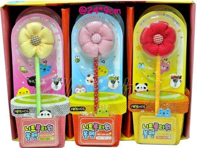 寶貝玩具屋二館☆【韓版毛線花朵原子筆】適合當小禮物☆【加購區】買一件加購一件