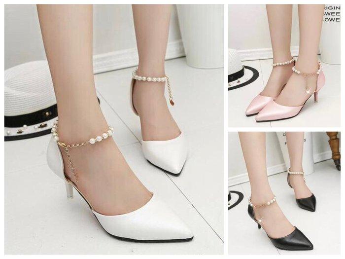 【NAINAIS】韓版 公主珍珠尖頭包頭細跟涼鞋一字扣中跟高跟鞋 3色 35-39