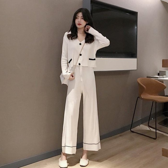 促銷小香風套裝女秋季新款顯瘦針織衫上衣氣質闊腿褲時尚兩件套 宜室