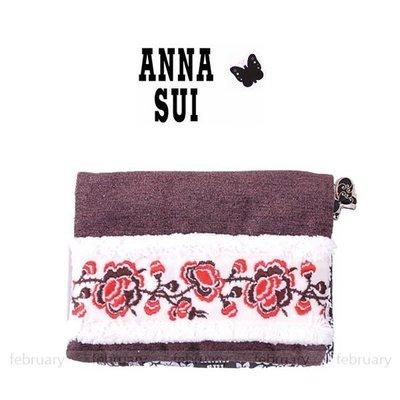 february 小舖 - [全新真品] ANNA SUI 經典玫瑰LOGO奢華刺繡機能夾 面紙零錢包