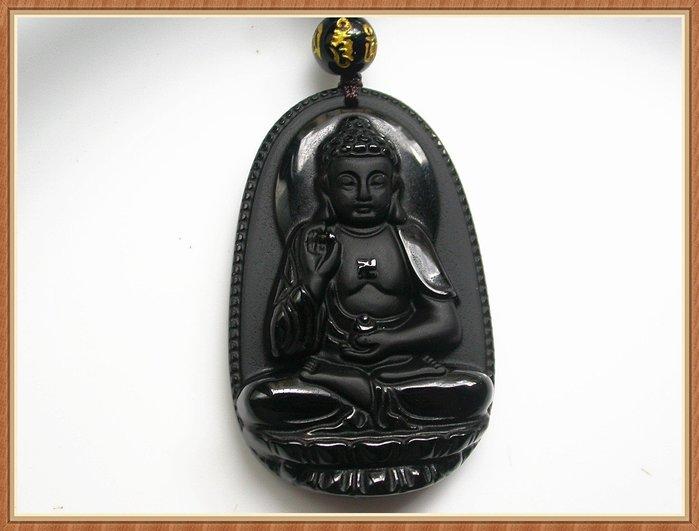 【雅之賞|藏傳|佛教文物】*特賣*天然黑曜石  阿彌陀佛(52*34mm)吊墜~Q621