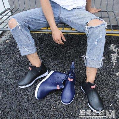 夏季男士雨鞋短筒低筒廚房工作膠鞋防滑防...