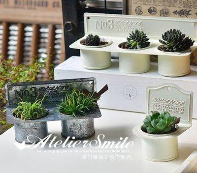 [ Atelier Smile ] 鄉村雜貨 日本  復古作舊鐵皮懸掛花器 單圓花器 三色 鐵籃 (現+預)