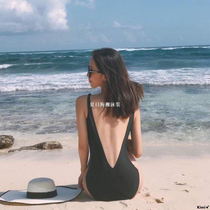 Kimi➹ 泳裝正韓INS風泳衣女網紅款仙女范連身黑色露背遮肚顯瘦輕熟溫泉海邊TT321