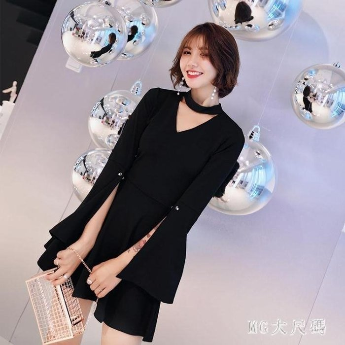 大尺碼新款宴會洋裝名媛性感氣質開叉袖v領掛脖連衣裙小黑裙禮服 QQ15569