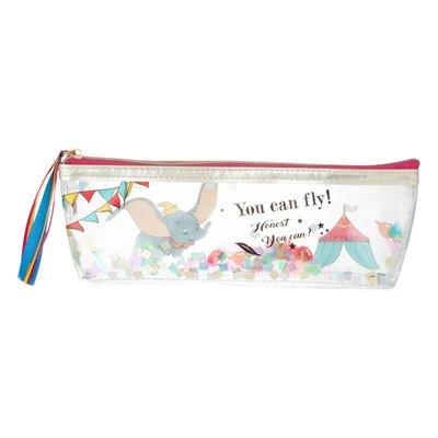 ☆Juicy☆日本 Disney 迪士尼 小飛象 DUMBO 亮片 化妝包 收納袋 小物包 筆袋 刷具包 3223