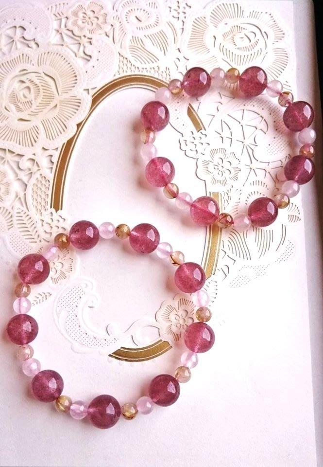 優雅鈦晶草莓晶手環一組