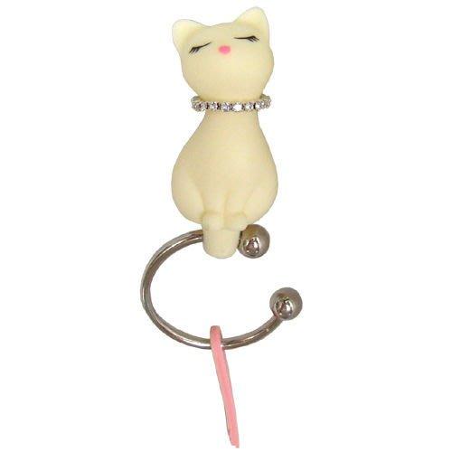 《創意雜貨》Kati 小貓鑰匙圈 (白貓) ~ 喵喵帶著 bling bling 的項圈~生日/派對/聖誕禮物