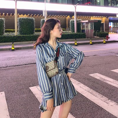 港味條紋收腰系帶襯衣高腰顯瘦短褲套裝女2019新款
