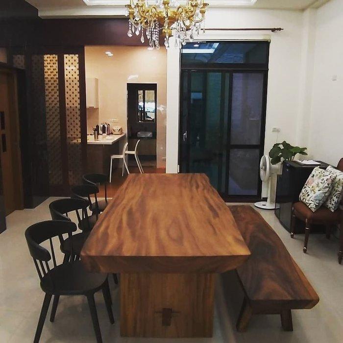 幸福家傢俱 鐵木大桌板 雨豆木  原木無拼接 240公分 實木傢俱