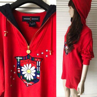 ESCADA SPORT 中國紅刺繡連帽運動風短洋裝