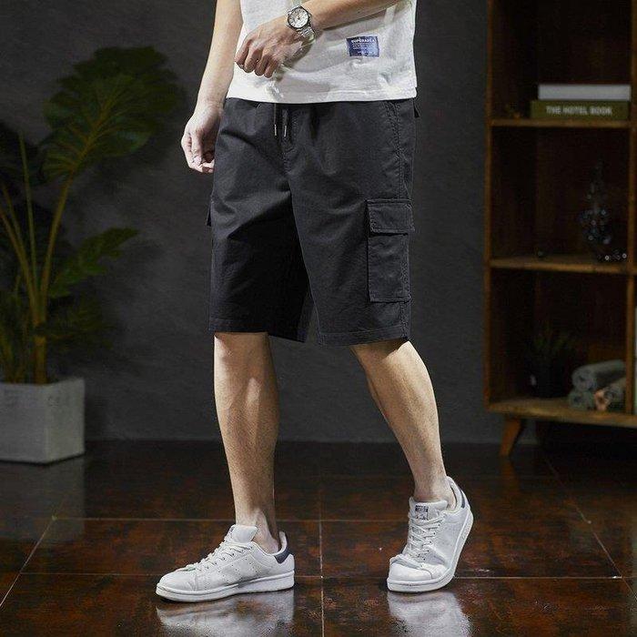 ZIHOPE 短褲 休閒短褲 牛仔短褲 新款港風工裝短褲男潮黑色男士短褲夏季寬松休閒五分褲ZI812