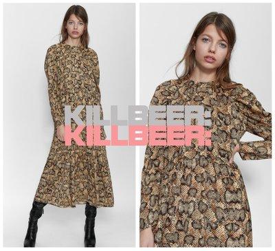 KillBeer:漂丿的都市名媛之 歐美復古華麗搖滾動物紋蟒蛇紋立體剪裁宮廷袖垂墜感連身裙長洋裝121709