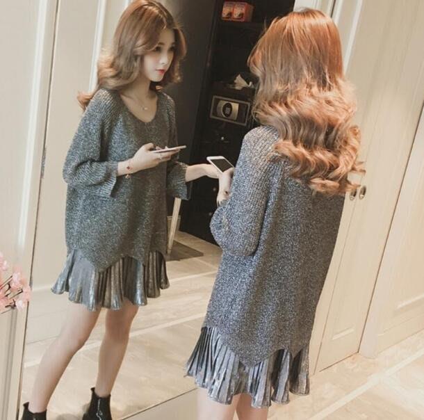 針織裙 女裝新款亮絲針織衫 吊帶裙 百褶連身裙 顯瘦時尚兩件套裝裙—莎芭