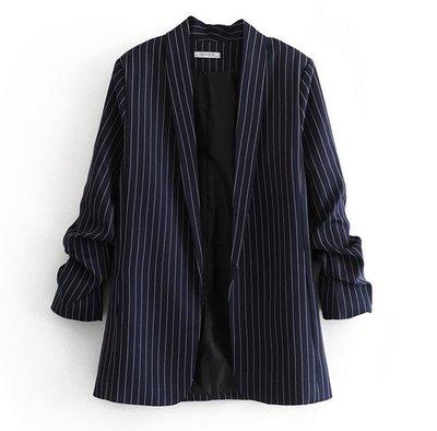 【An Ju Shop】外單 歐美西班牙風 春款 OL氣質條紋顯示西裝領無扣小西服外套~S5B1175S6