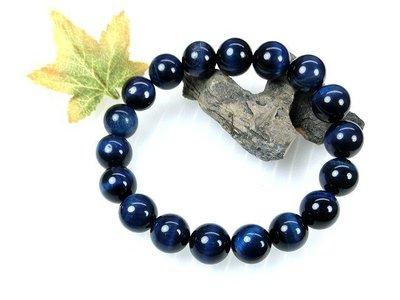 □§Disk的天然水晶§□【勇者之石】藍虎眼石(藍鷹眼石)圓珠手鍊(10mm)FF02