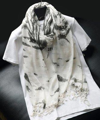 【Lady Luck服飾】春夏薄款民族風水墨畫純白絲巾印花流蘇夏季窄版絲巾