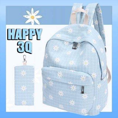 少女小清新雙拉鍊碎花雙肩手提筆電帆布後背包書包-淺藍/藍/粉/綠【AAA0809】預購