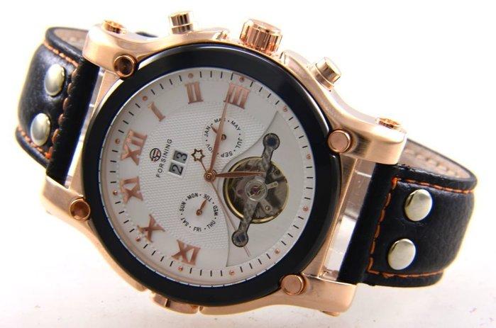 (六四三精品)超大粗礦錶徑5.2公分.三眼五針.星期.日期.月份似陀飛複雜功能自動上鍊機械錶!黑框玫瑰金色殼