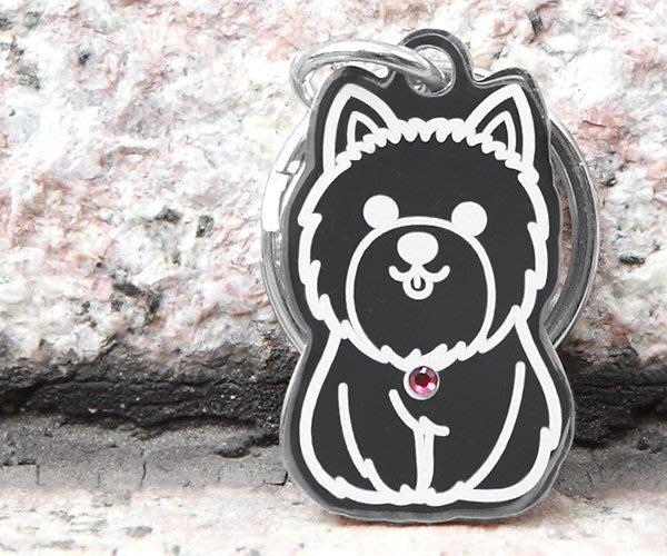 INPET狗狗貓貓名牌-西高地白梗形狀版-深刻雷雕+不鏽鋼304+施華洛世奇水晶~滿千免運~