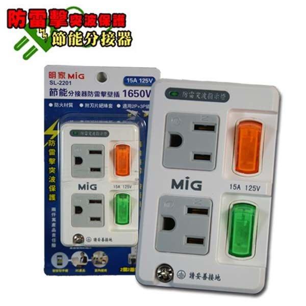 明家 MIG~節能分接器防雷擊壁插~SL2201 插座 延長線 轉接器 萬國~售價已含稅並