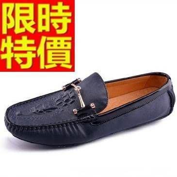 豆豆鞋 男鞋子-經典龍頭熱壓圖案真皮時尚男休閒鞋3色65k40[獨家進口][米蘭精品]