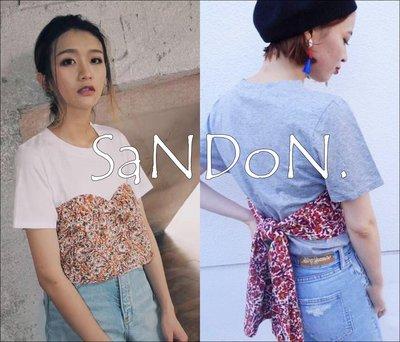 SaNDoN x SLY 夏季入荷 復古當道假兩件綁帶碎花設計感素面上衣 MOUSSY 韓妮 170630