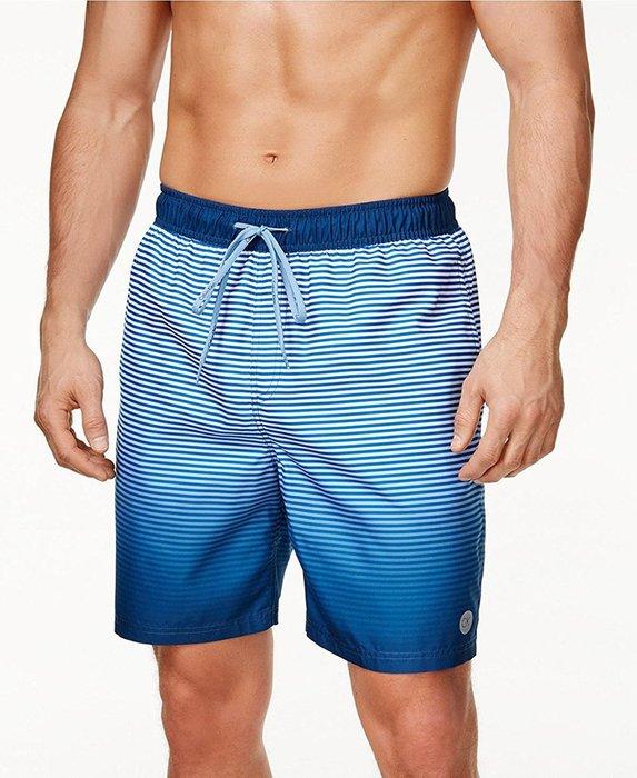 美國百分百【Calvin Klein】短褲 CK 休閒褲 海灘褲 泳褲 沙灘褲 衝浪褲 條紋 漸層藍 M號 I347