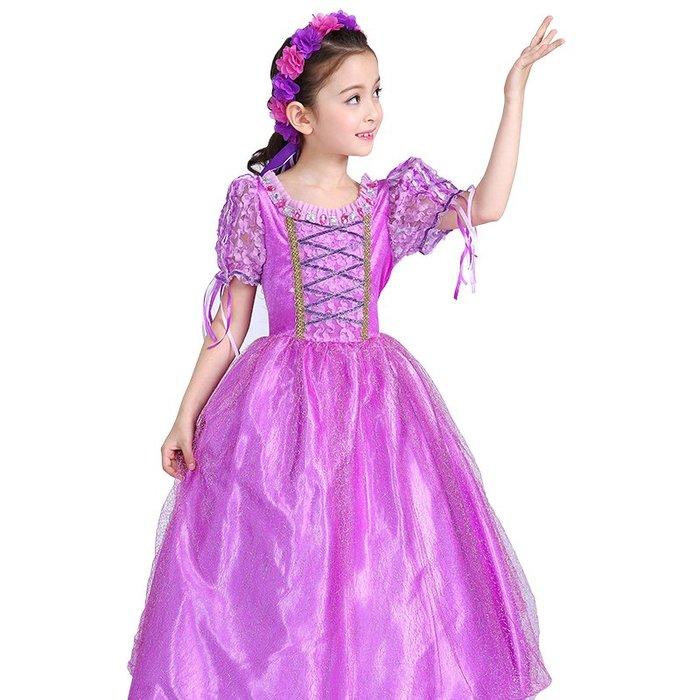 •*~ 辣媽咪衣飾小舖 ~*•❤童裝系列❤K970415韓版大童夏款冰雪奇緣艾莎公主洋氣短袖禮服洋裝 (送皇冠+魔法棒)