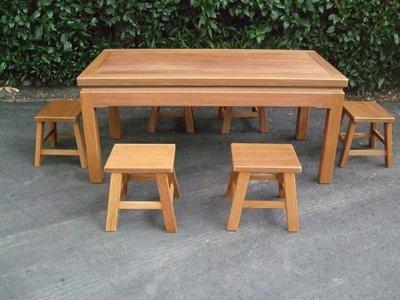 A020 {崙頂傳統原木家具行}~實木餐桌配小四腳椅跟  接受訂作 訂色