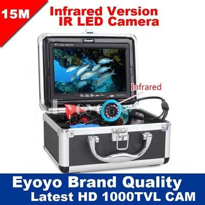 """J0301YG EYOYO 7"""" 顯示器 15米 魚探測器 水下相機 釣魚 高清 1000TVL 視頻釣魚相機"""