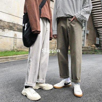 【Slippin】 免運早秋港風CHIC褲子男闊腿褲韓版直筒工裝褲寬松百搭休閑潮流