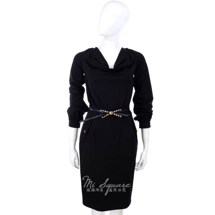 米蘭廣場 CLASS roberto cavalli 黑色垂領設計長袖洋裝 1340032-01