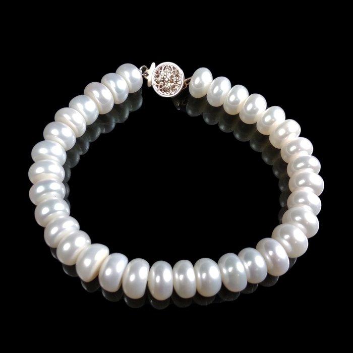 《博古珍藏》天然南洋珍珠手鍊手環.16公克.珠徑7mm.禮盒禮物飾品.橢圓飽滿.底價回饋