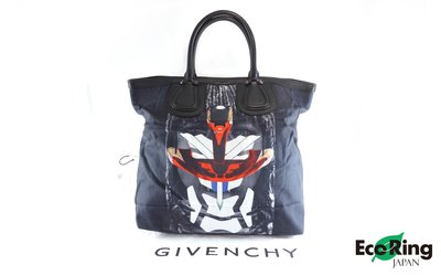 [Eco Ring HK]*Givenchy Tote Bag /Canvas+Leather /Black+Navy*Rank B-207001914-