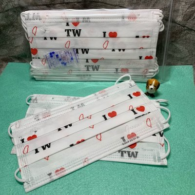 現貨丰荷🌈我愛台灣🌈成人平面口罩(10入)