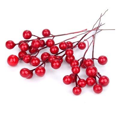 紅色仿真櫻桃串7叉 聖誕樹配件鐵絲尾果子串假櫻桃果子聖誕裝飾品