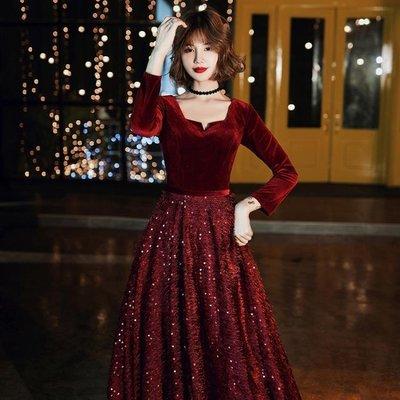婚紗禮服 敬酒服新娘2020新款長袖酒紅色結婚秋冬季絲絨晚禮服訂婚回門服女