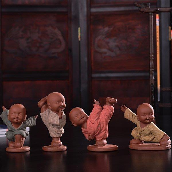 5Cgo【茗道】含稅會員有優惠 522135376499 迷你小和尚彩砂陶茶寵擺件精品紫砂茶具陶瓷配件創意家居飾品