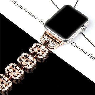 熱賣Apple Watch 4 時尚閃鑽優雅手鏈不鏽鋼錶帶 iWatch 38 42 40 44mm 透氣 替換腕帶