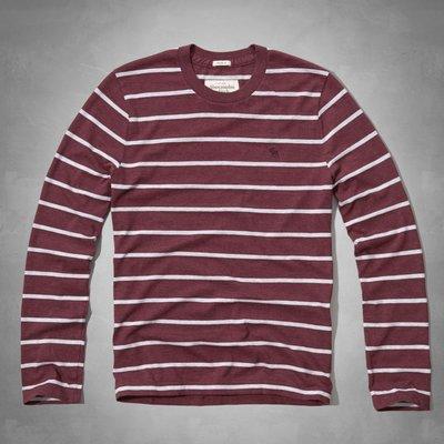 【天普小棧】A&F Abercrombie&Fitch Panther Gorge Tee長袖條紋T恤L/XL號