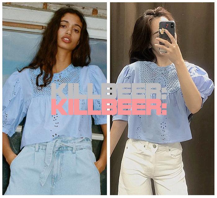 KillBeer:波希米亞嬉皮風之 歐美復古法式優雅baby天空藍重工藝簍空鉤花刺繡泡泡袖棉麻襯衫上衣A080501