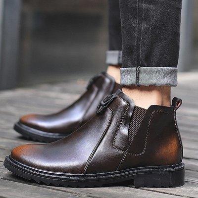 【時尚先生男裝】大碼男鞋切爾西靴男新款男士休閑馬丁靴牛皮潮英倫工裝靴高幫真皮 2005240714