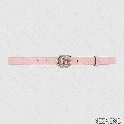 【WEEKEND】 GUCCI GG 皮革 腰帶 皮帶 2公分 粉紅色 粉色 409417